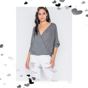 CLOSING Small New Front Knot Drape Grey Top